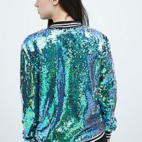 Jaded London Sequin Bomber Jacket in Aqua - Urban Outfitters