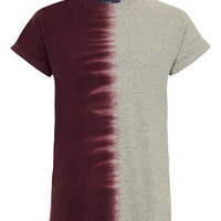 Burgundy and Grey Tie Dye T-shirt
