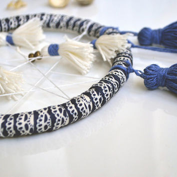 Modern Dream Catcher, Blue and White, Large Dreamcatcher, Tassel, Home Decor, Gift, Boho Style