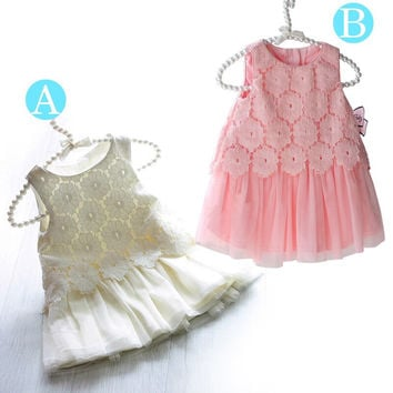 dress) new baby girls dress summer lace sleeveless tutu chiffion dresses kids clothes G897