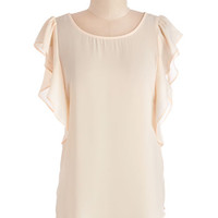 ModCloth Mid-length Short Sleeves You Got the Right Ruffles Top