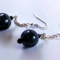 Dangle earrings, black beaded drop earrings, crystal beads, sparkle jewelry