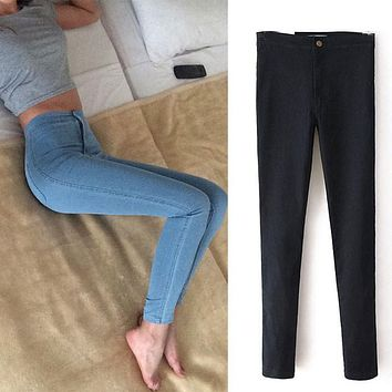 Slim Jeans For Women Skinny High Waist Jeans Woman Blue Denim Pencil Pants Stretch Waist Women Jeans Black Pants Calca Feminina