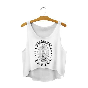 Running Vests Jogging GUADALUPE TATTOO Letter Beach s White Active Loose Cropped Tanks Top Summer Sleeveless Scoop Neck Camis Ladies KO_11_1