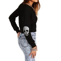 Black Sequin Skull Patch Crop Top