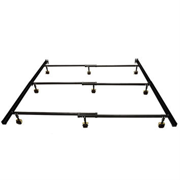 Queen size 9-Leg Metal Bed Frame with Locking Rug Rollers Casters Wheels