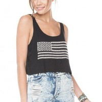Brandy ♥ Melville    Mirella Flag Embroidery Tank - Graphic Tops - Clothing