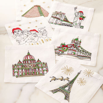 Holiday Cities Cocktail Napkins, 6-Piece Set - Kim Seybert