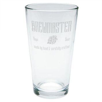 DCCKU3R Brewmaster Beer Hops Hand Crafted Etched Pint Glass