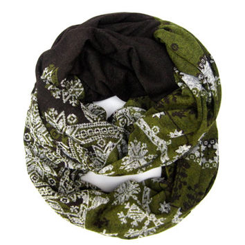 Fun Winter Scarf Womens Fashion Scarf Infinity Scarf Soft Cozy Snowflake Eternity Scarf Brown Olive Green White Ready to Ship