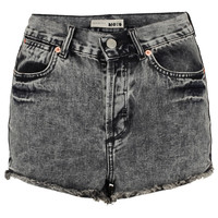 MOTO Black Acid Denim Hotpants - Clothing - Topshop
