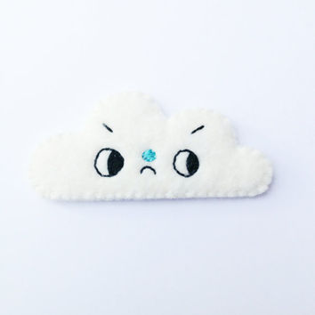 Grumpy Cloud Brooch