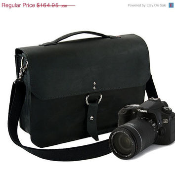 "SALE Leather Camera Bag New: Handmade in the U.S.A. - Classic Black Color - Midtown Style 14"" -  Free Shipping in the U.S."