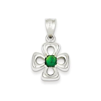 Sterling Silver Four Leaf Clover with Green Synthetic Stone Charm