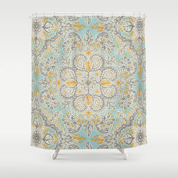 Gypsy Floral in Soft Neutrals, Grey & Yellow on Sage Shower Curtain by Micklyn