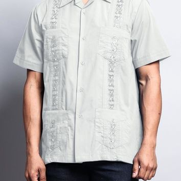Men's Short Sleeve Cuban Style Guayabera Shirt 2000-1 (Light Grey)