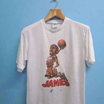 Discount 15% 90's Vintage Adidas James Lebron Miami NBA Star Cartoon Sport Shirt Stree