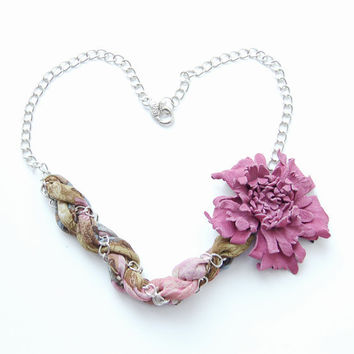 Pink and olive floral chain necklace