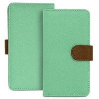 Fosmon Caddy Series Leather Wallet Case for Samsung Galaxy S7, S6, S6 Edge, S5, S4, Active / HTC Desire 530, 630, One M8 / LG G2 - Sky Green / Brown