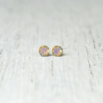 White Opal Rainbow Earrings Swarovski Crystal Rainbow Stud Super Sparklers Teenies RARE Earrings Mashugana