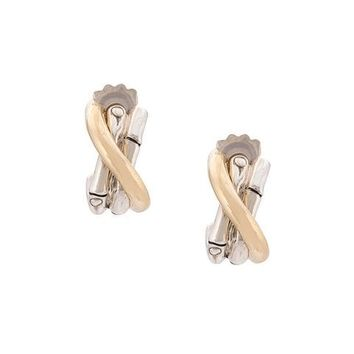 John Hardy 18kt Yellow Gold And Sterling Silver Small J Hoop Earrings - Farfetch
