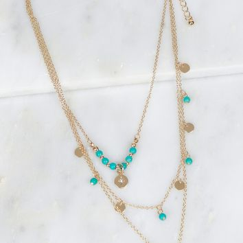 Layered Beaded Necklace Turquoise