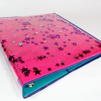 Holographic 3 Ring Binder Pink Binder Cover Back to School Glitter Notebook