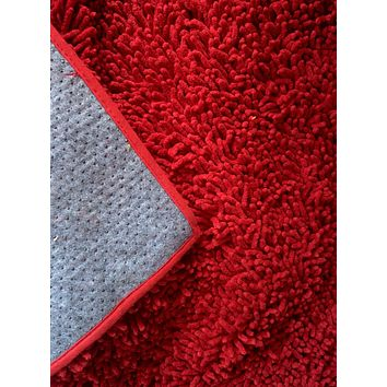 Tache Cotton Chenille Solid Dark Raspberry Red Rug (MAT2032R)