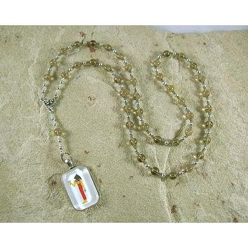 Bast Prayer Bead Necklace in Smoky Quartz: Egyptian Goddess of Joy, Love, Music