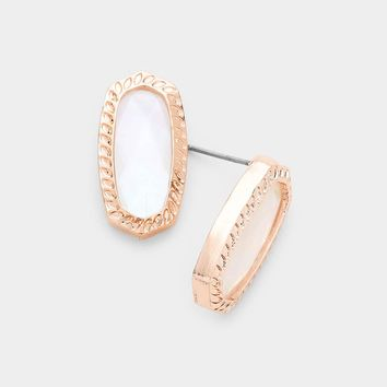 Mother Of Pearl Hexagon Embossed Metal Stud Earrings