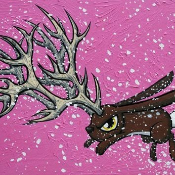 Goin Stag original painting Jackalope by joehavasy on Etsy
