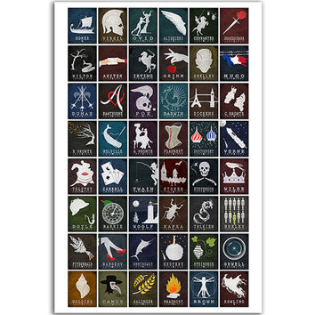 Evolution of Literature - Literary Gift For Readers Classroom Book Art Reading Gift Ideas Book Lover Library Ancient To Modern Authors