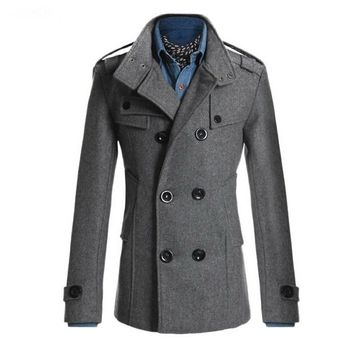 SYB 2016 NEW Slim Fit Long Coat Warm Double Breasted Peacoat Coat Jacket Gray