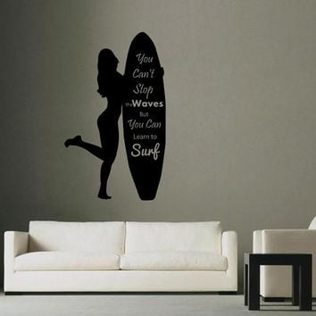 ik2587 Wall Decal Sticker inscription girl surfing board sports shop stained glass