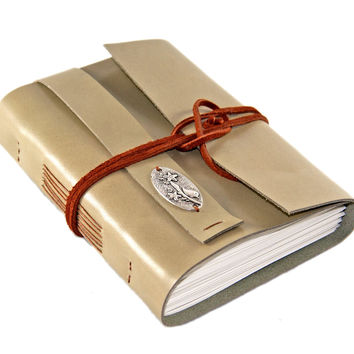 Light Sage Green Leather Journal with Lined Paper - Bird Cameo - Ready to Ship -
