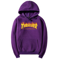 """Thrasher""Men and women with the flame hooded couples sweater Purple"