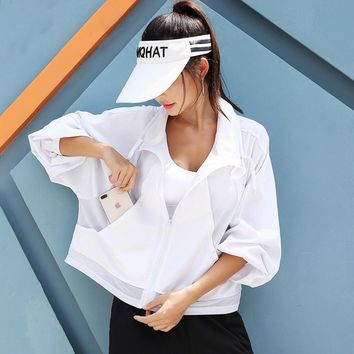 Mesh fitting pure color loose sports jacket  Women's collar long sleeves Fat version casual sportwear outdoor running fitness