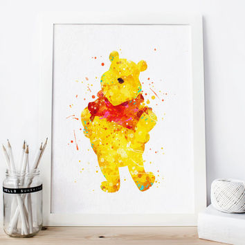 Winnie the Pooh Watercolor Art Print, Disney Watercolor Poster, Pooh Wall Art, Home Decor