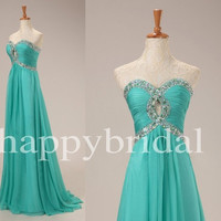 Long Peacock Blue Crystal Prom Dresses Party Dresses Homecoming Dresses Bridesmaid Dresses 2014 New Fashion