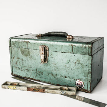 Vintage Teal Green Tool Box Industrial Urban Chic Storage