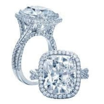 5.40ct Moissanite & Diamond Engagement Ring Cushion  JEWELFORME BLUE
