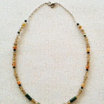 Handmade Beaded Necklace; Earth Tones; Green Beads; Citrine; Multi Bead; Natural Tones; Everyday Casual Necklace; Pale Yellow; Gift for Her