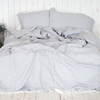 Linen DUVET COVER Light Grey Queen King Twin Double SEAMLESS Doona cover linen bedding comforter cover stonewashed prewashed pure linen