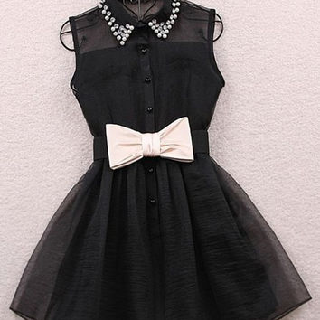 Black Pearls Embellished Collar Ribbon Waist Mini Dress