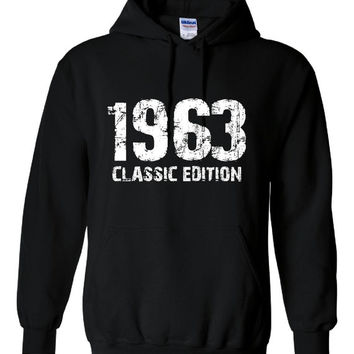 1963 Classic Edition 50th Birthday Anniversary Party Unisex Hoodie Over the Hill Cute Bday Gift