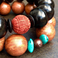 Surfer bracelet Black and red Buddhist Mens jewelry Big black ebony bead Mala bracelet Chinese carved cinnabar Minimal dark Gifts for guys