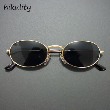 84112 Small Oval 90s Narrow Sunglasses Women 90's Teenage Fashion Vintage Round Sun Glasses for Women Gold Black Sunglasses Men