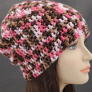 Pink and Brown Multicolored Crochet Slouch Beanie Women Crochet Hat Pink Camo Crochet Beanie