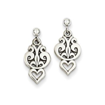 Small Filigree Heart Dangle Post Earrings in 14k White Gold