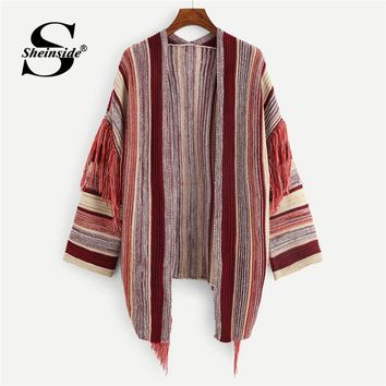 Sheinside Open Front Fringe Trim Cardigan Sweater Women Knitted Long Coat 2018 Clothes Autumn Ladies Outerwear Female Cardigan